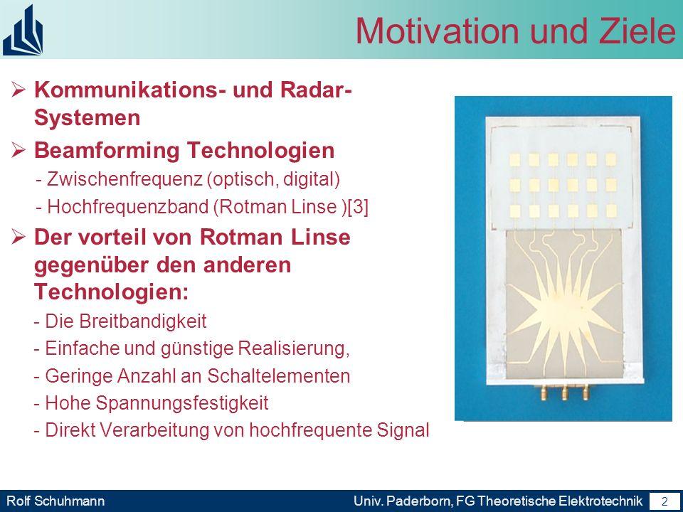 1 Rolf SchuhmannUniv. Paderborn, FG Theoretische Elektrotechnik 1 Gliederung Motivation und Ziele Grundlagen der Rotman Linsen Unsere Arbeite Ausblick