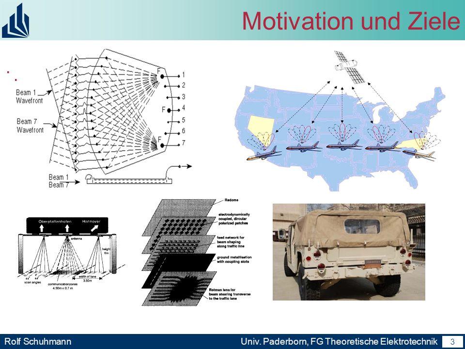 2 Rolf SchuhmannUniv. Paderborn, FG Theoretische Elektrotechnik 2 Motivation und Ziele Kommunikations- und Radar- Systemen Beamforming Technologien -