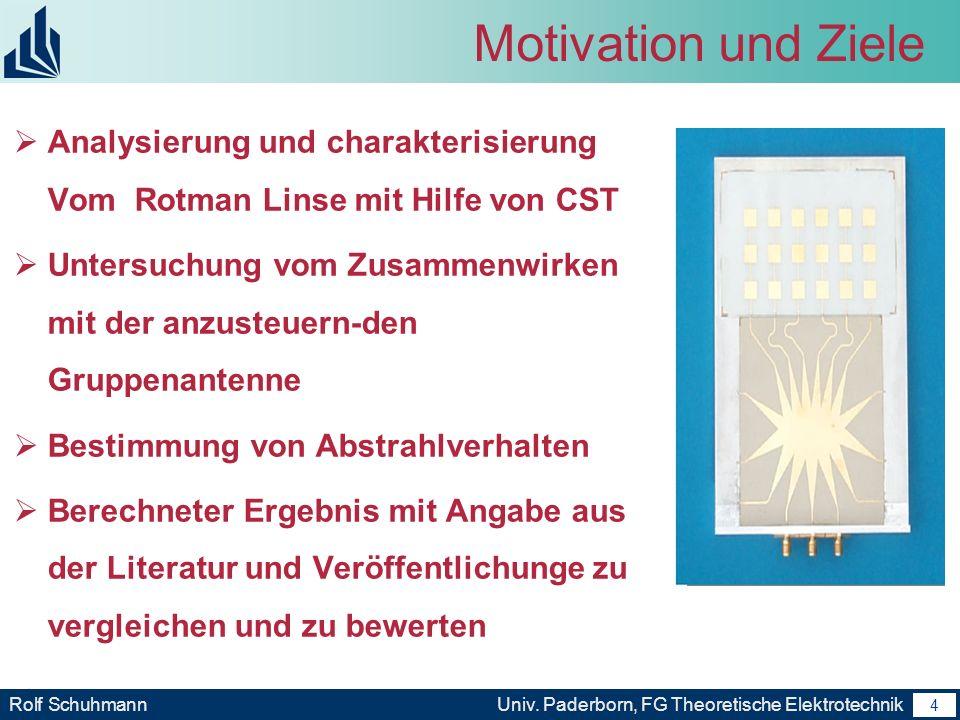3 Rolf SchuhmannUniv. Paderborn, FG Theoretische Elektrotechnik 3 Motivation und Ziele..