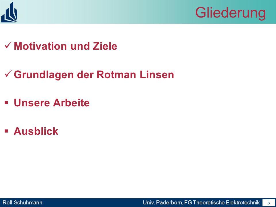 4 Rolf SchuhmannUniv. Paderborn, FG Theoretische Elektrotechnik 4 Motivation und Ziele Analysierung und charakterisierung Vom Rotman Linse mit Hilfe v