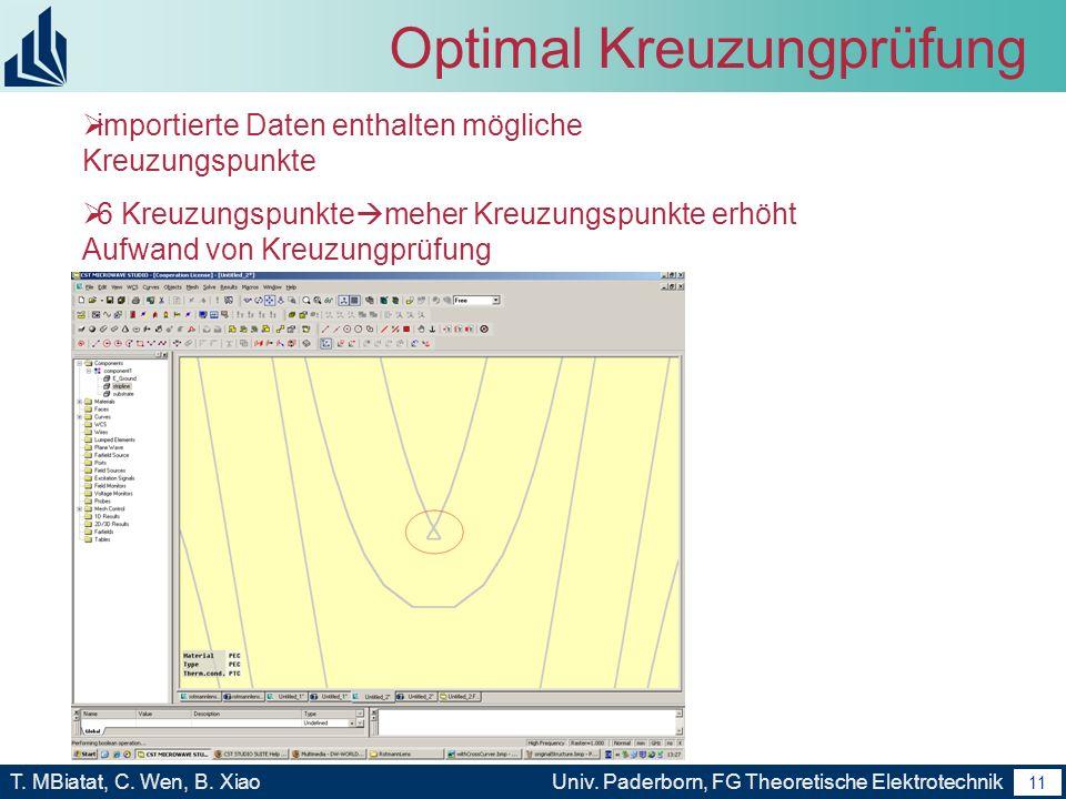 10 T. MBiatat, C. Wen, B. XiaoUniv. Paderborn, FG Theoretische Elektrotechnik 10 Folgende Arbeit Macro program Verbesserung(optimal Kreuzungprüfung) –