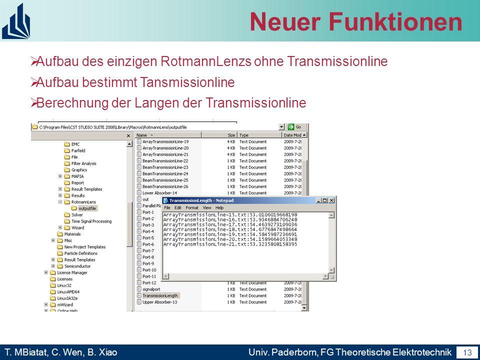 12 T. MBiatat, C. Wen, B. XiaoUniv. Paderborn, FG Theoretische Elektrotechnik 12 Neuer Funktionen Automatisch Hinzufügung der Signalports