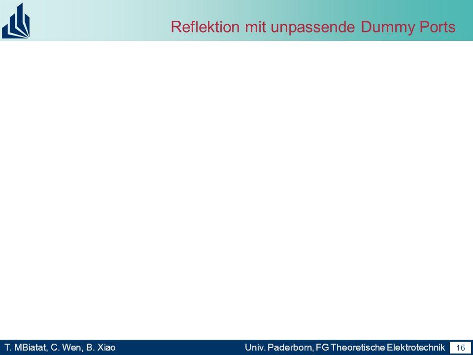 15 T. MBiatat, C. Wen, B. XiaoUniv. Paderborn, FG Theoretische Elektrotechnik 15 Unerwartete Schwierigkeit Von Marco erzeugte Models schwere behaltbar