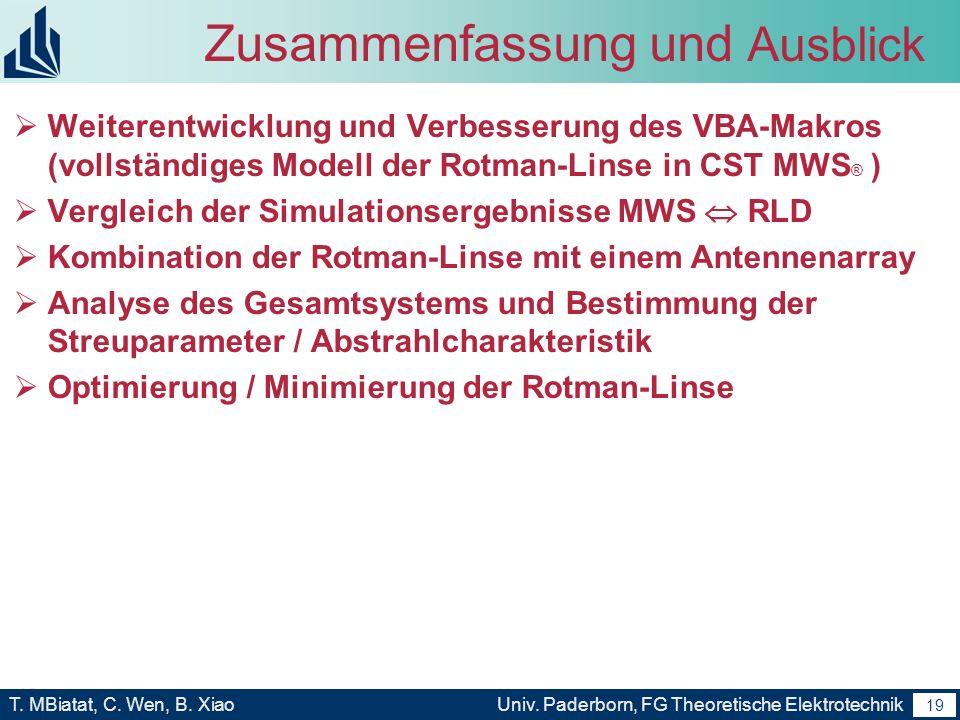 18 T. MBiatat, C. Wen, B. XiaoUniv. Paderborn, FG Theoretische Elektrotechnik 18 Zusammenfassung und Ausblick