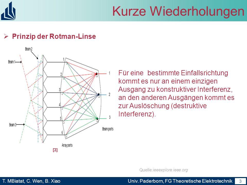 2 T. MBiatat, C. Wen, B. XiaoUniv. Paderborn, FG Theoretische Elektrotechnik 2 Kurze Wiederholungen Einsatz in Kommunikations- und Radarsystemen Begri