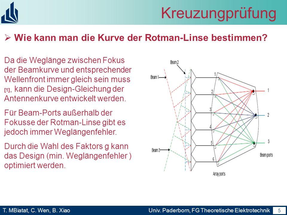4 T. MBiatat, C. Wen, B. XiaoUniv. Paderborn, FG Theoretische Elektrotechnik 4 Kreuzungprüfung Analytisches Modell einer Rotman-Linse Rotman-Linse Par