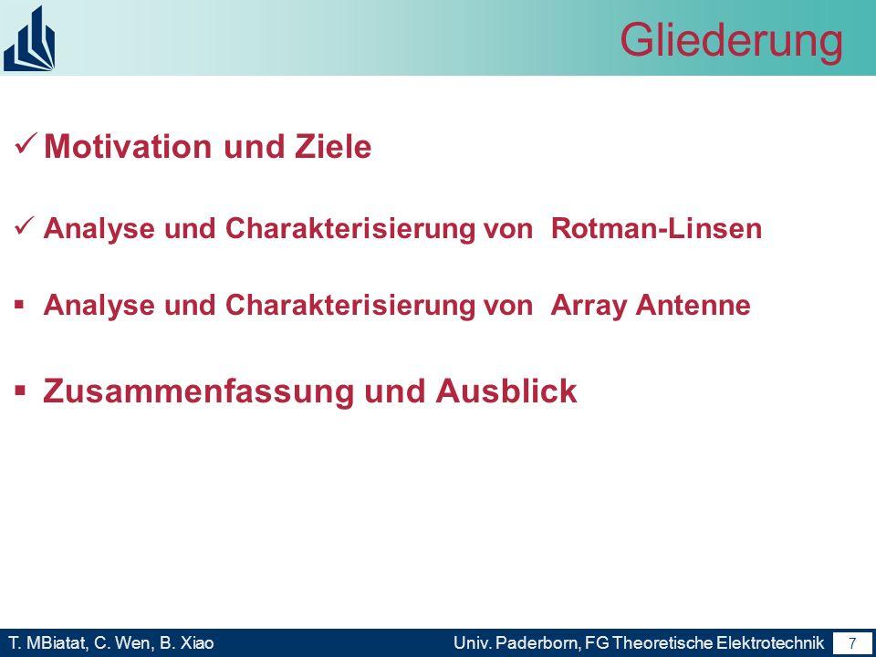 6 T. MBiatat, C. Wen, B. XiaoUniv. Paderborn, FG Theoretische Elektrotechnik 6 Motivation und Ziele Analyse und Charakterisierung von Rotman-Linsen un