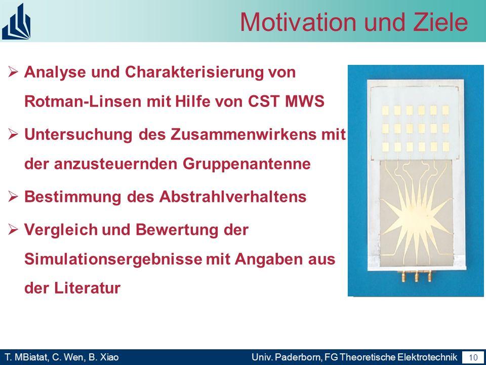 9 T. MBiatat, C. Wen, B. XiaoUniv. Paderborn, FG Theoretische Elektrotechnik 9 Motivation und Ziele Anwendungsbereiche der Rotman-Linse Realapertur- u
