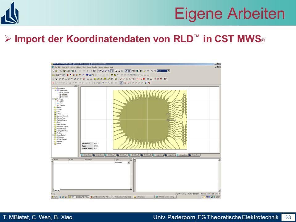 22 T. MBiatat, C. Wen, B. XiaoUniv. Paderborn, FG Theoretische Elektrotechnik 22 Eigene Arbeiten Erstellung des Modells der Rotman Linse im RLD - mit