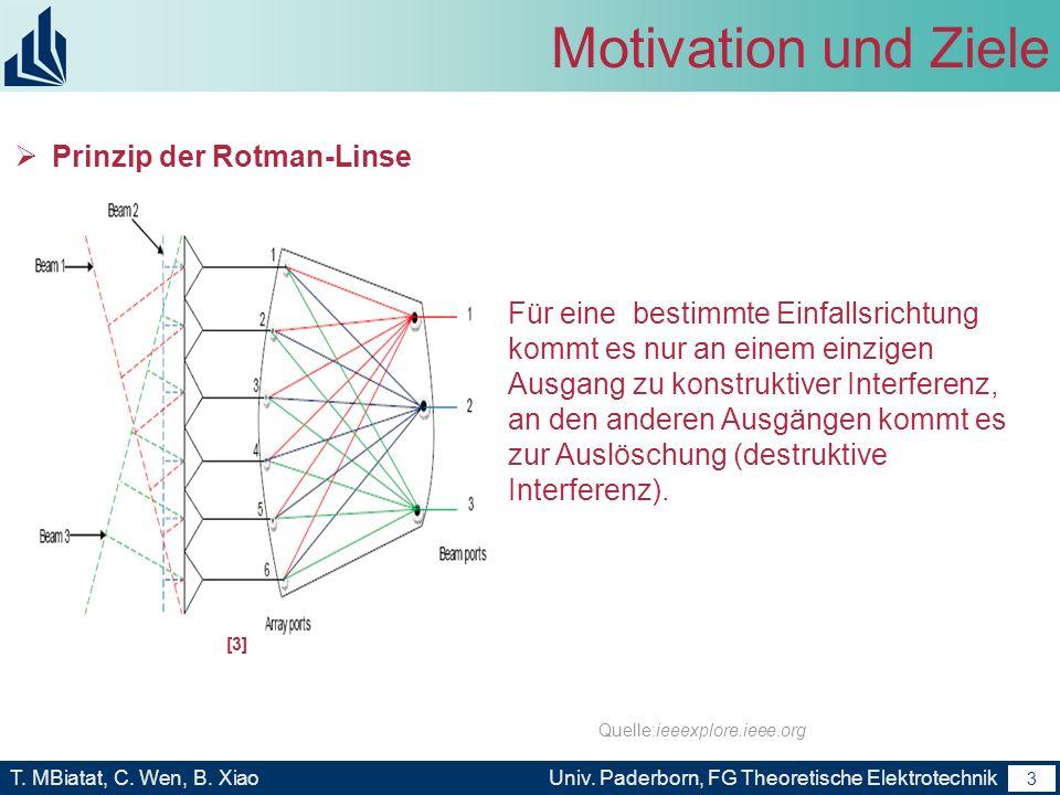 2 T. MBiatat, C. Wen, B. XiaoUniv. Paderborn, FG Theoretische Elektrotechnik 2 Motivation und Ziele Einsatz in Kommunikations- und Radarsystemen Beamf