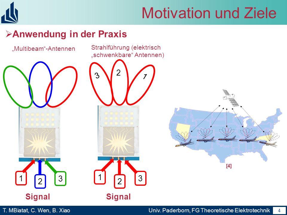 3 T. MBiatat, C. Wen, B. XiaoUniv. Paderborn, FG Theoretische Elektrotechnik 3 Motivation und Ziele Prinzip der Rotman-Linse Für eine bestimmte Einfal