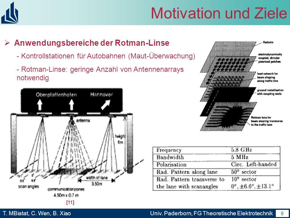 7 T. MBiatat, C. Wen, B. XiaoUniv. Paderborn, FG Theoretische Elektrotechnik 7 Motivation und Ziele Anwendungsbereiche der Rotman-Linse -Automotive Co