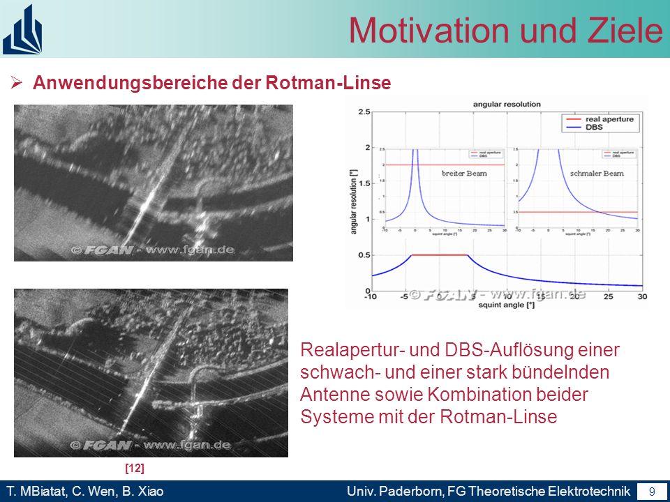 8 T. MBiatat, C. Wen, B. XiaoUniv. Paderborn, FG Theoretische Elektrotechnik 8 Motivation und Ziele Anwendungsbereiche der Rotman-Linse - Kontrollstat