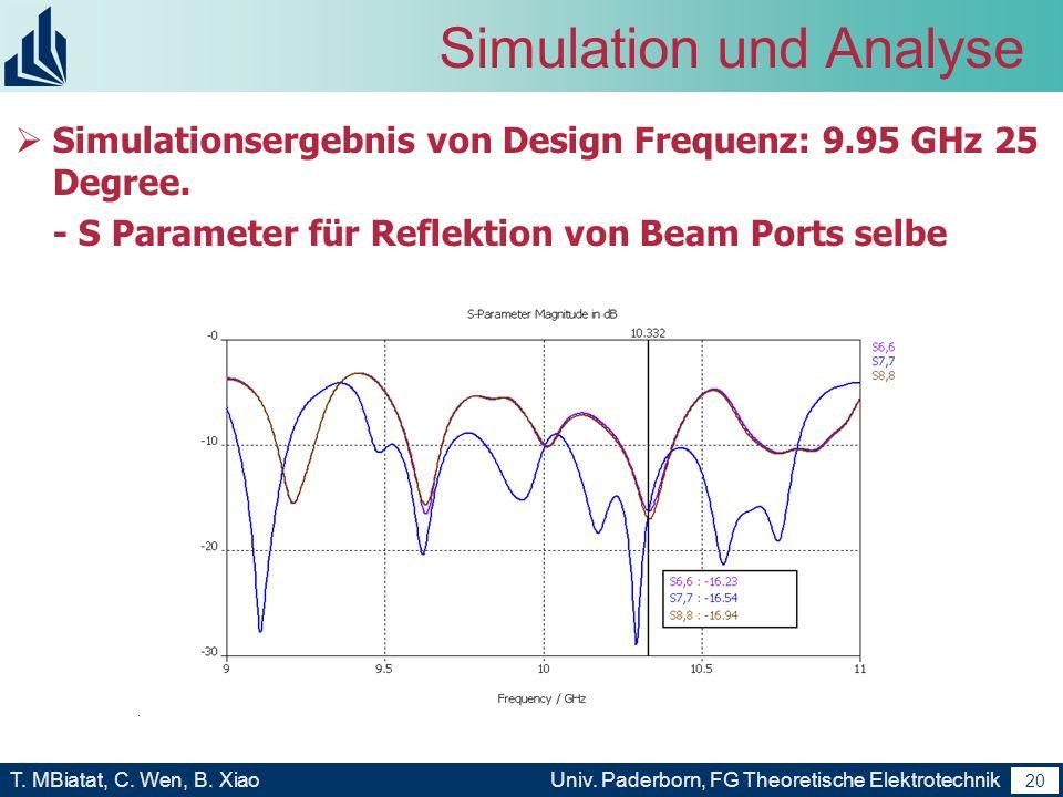 19 T. MBiatat, C. Wen, B. XiaoUniv. Paderborn, FG Theoretische Elektrotechnik 19 Simulation und Analyse Erstellen wir noch eine Rotman Linse Modell (D