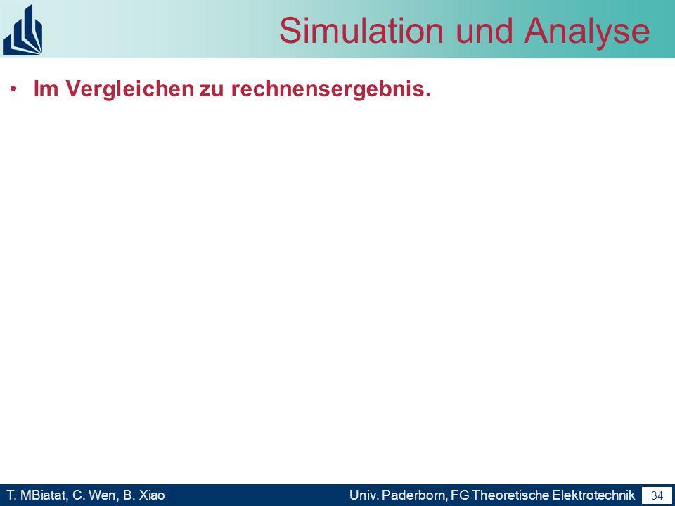 33 T. MBiatat, C. Wen, B. XiaoUniv. Paderborn, FG Theoretische Elektrotechnik 33 Simulation und Analyse Simulation von Array Transmission Line