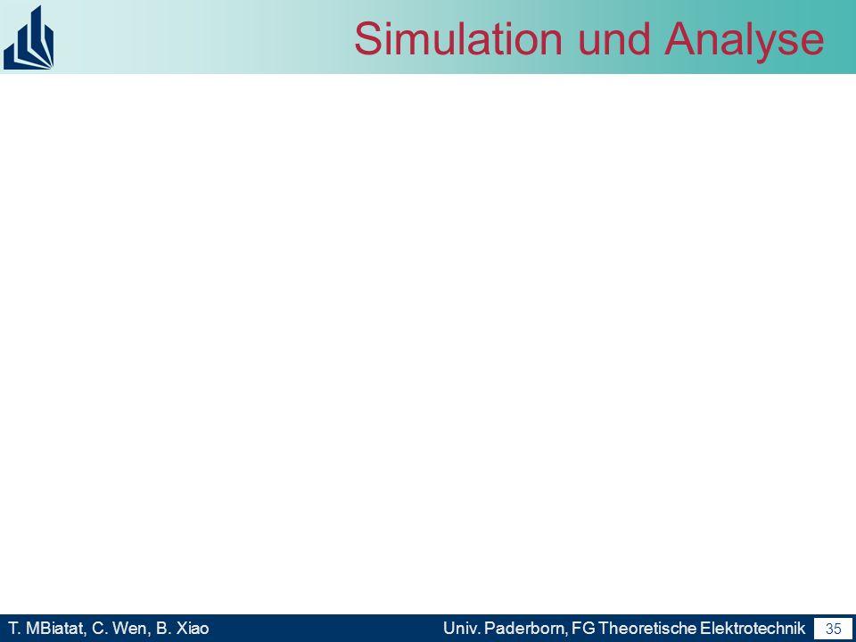 34 T. MBiatat, C. Wen, B. XiaoUniv. Paderborn, FG Theoretische Elektrotechnik 34 Simulation und Analyse Im Vergleichen zu rechnensergebnis.
