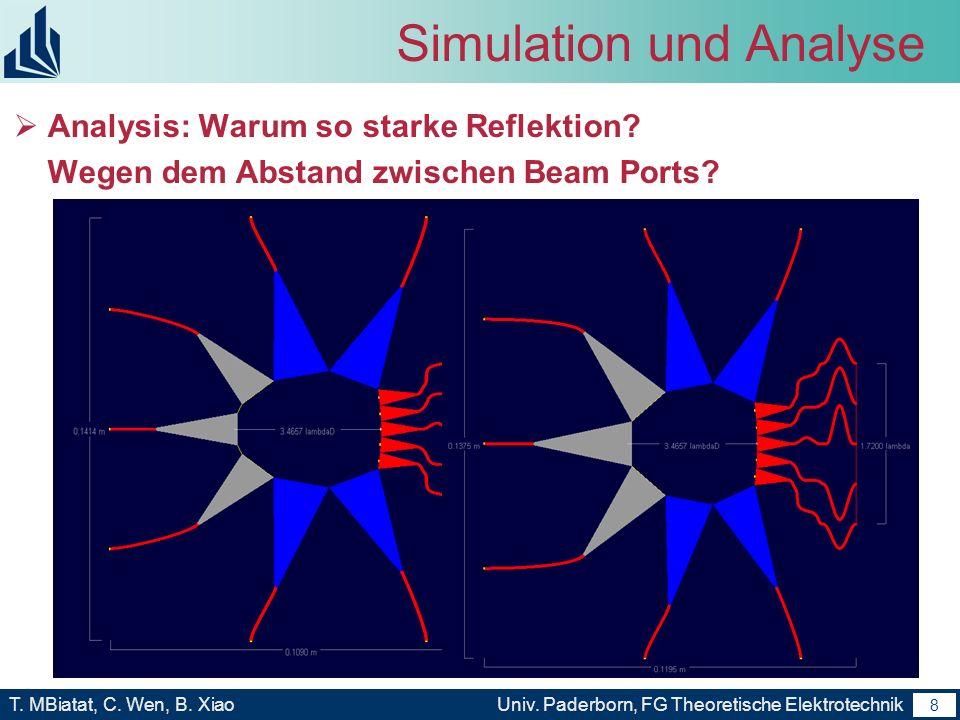 7 T. MBiatat, C. Wen, B. XiaoUniv. Paderborn, FG Theoretische Elektrotechnik 7 Simulation und Analyse Animationsergebnis von Simulation Ergebnis: 1,Se