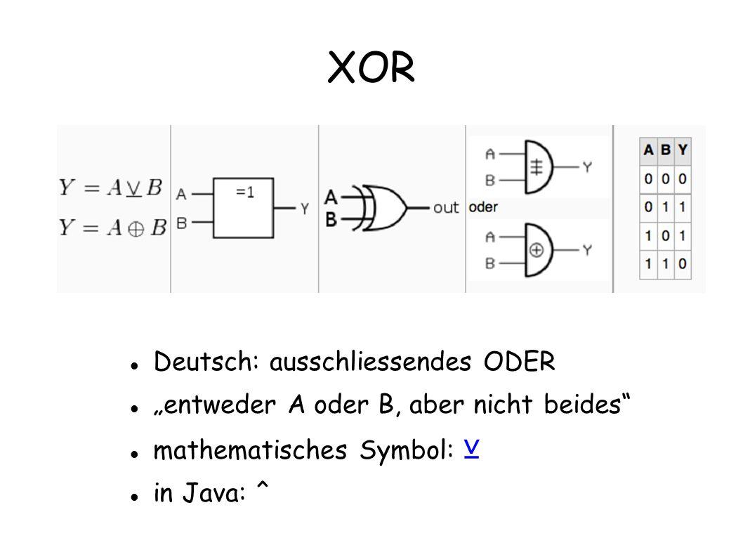 XOR Deutsch: ausschliessendes ODER entweder A oder B, aber nicht beides mathematisches Symbol: in Java: ^