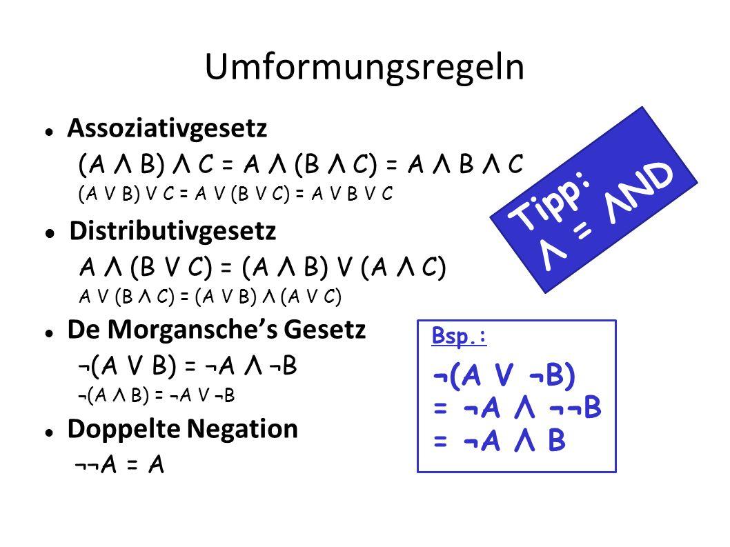Umformungsregeln Assoziativgesetz (A Λ B) Λ C = A Λ (B Λ C) = A Λ B Λ C (A V B) V C = A V (B V C) = A V B V C Distributivgesetz A Λ (B V C) = (A Λ B)