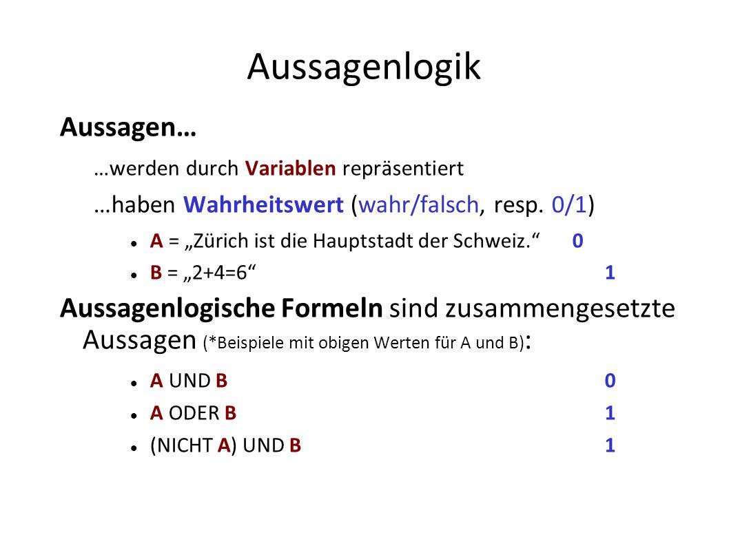 Aussagenlogik Aussagen… …werden durch Variablen repräsentiert …haben Wahrheitswert (wahr/falsch, resp. 0/1) A = Zürich ist die Hauptstadt der Schweiz.