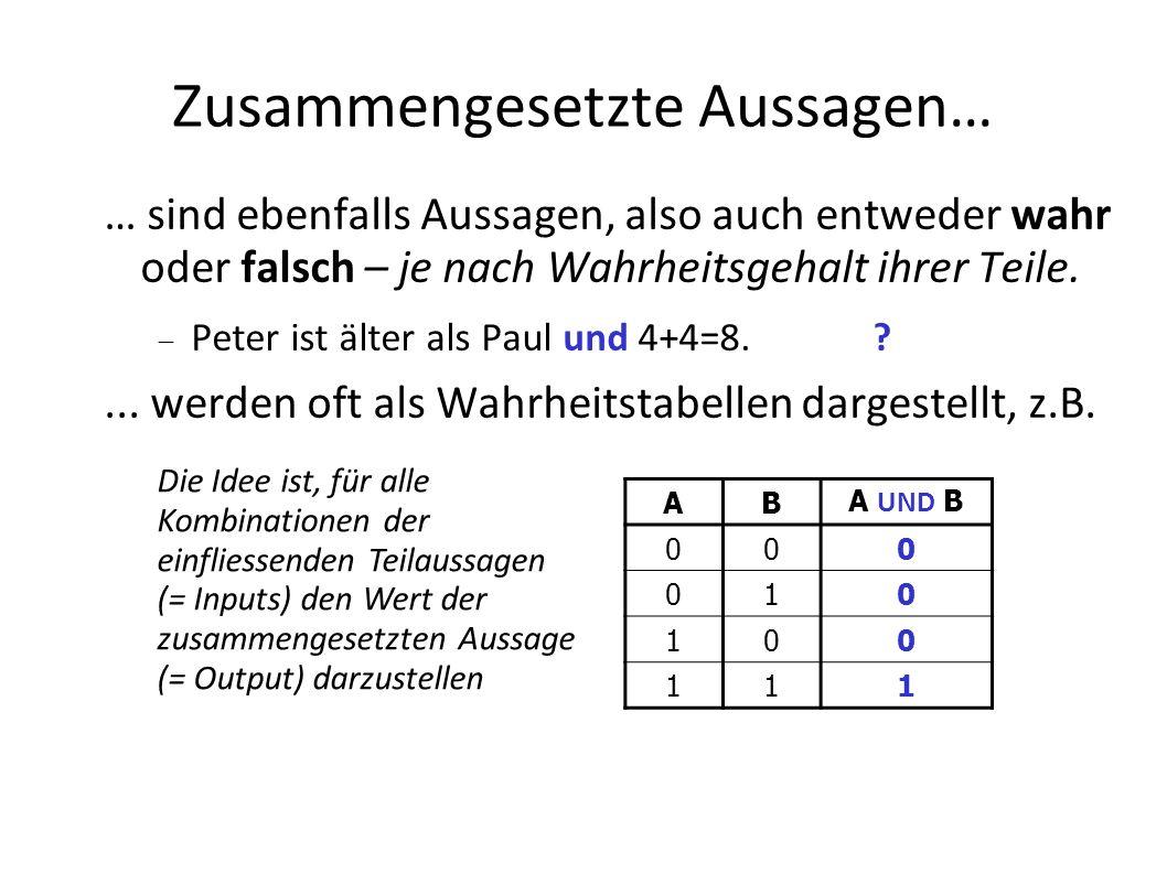 George Boole Begründer der Aussagenlogik englischer Mathematiker * 1815 in Lincoln 1864 in Ballintemple (Irland) Boolesche Variablen Können immer nur einen von zwei Werten annehmen true/false, wahr/falsch, 1/0 In vielen Programmiersprachen ein Datentyp Oft gebraucht für bedingte Anweisungen z.B.