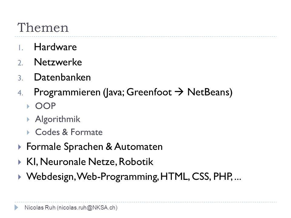 Themen Nicolas Ruh (nicolas.ruh@NKSA.ch) 1. Hardware 2. Netzwerke 3. Datenbanken 4. Programmieren (Java; Greenfoot NetBeans) OOP Algorithmik Codes & F