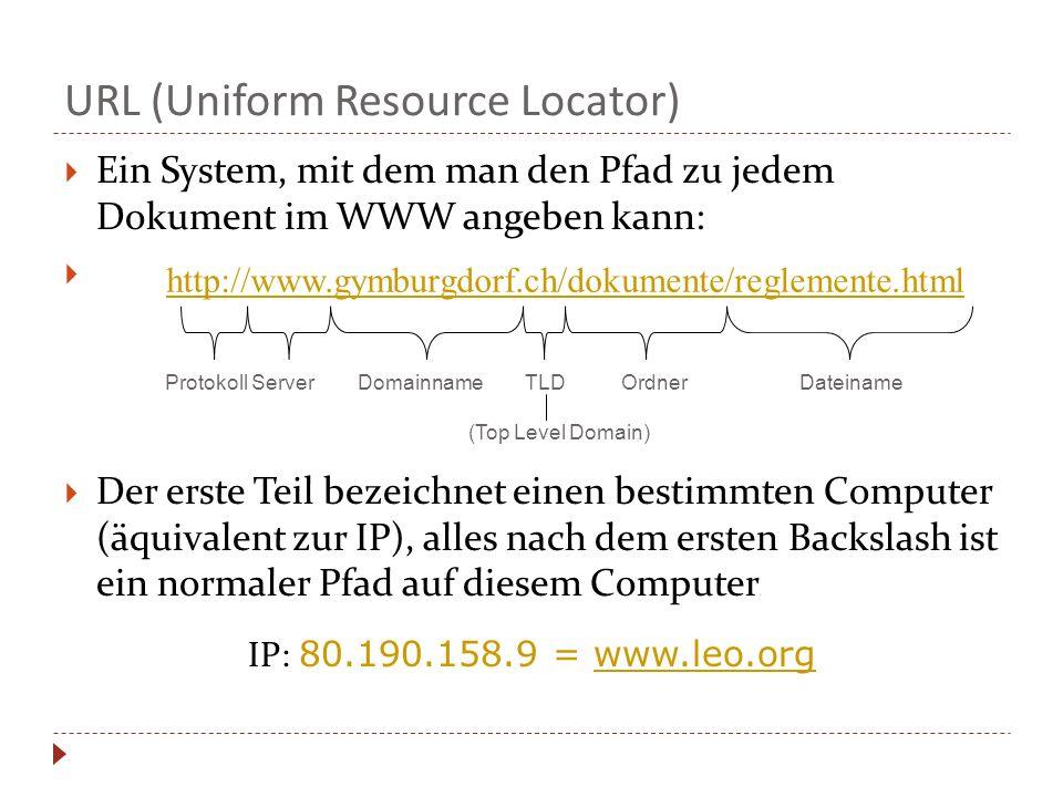 Ein System, mit dem man den Pfad zu jedem Dokument im WWW angeben kann: Der erste Teil bezeichnet einen bestimmten Computer (äquivalent zur IP), alles