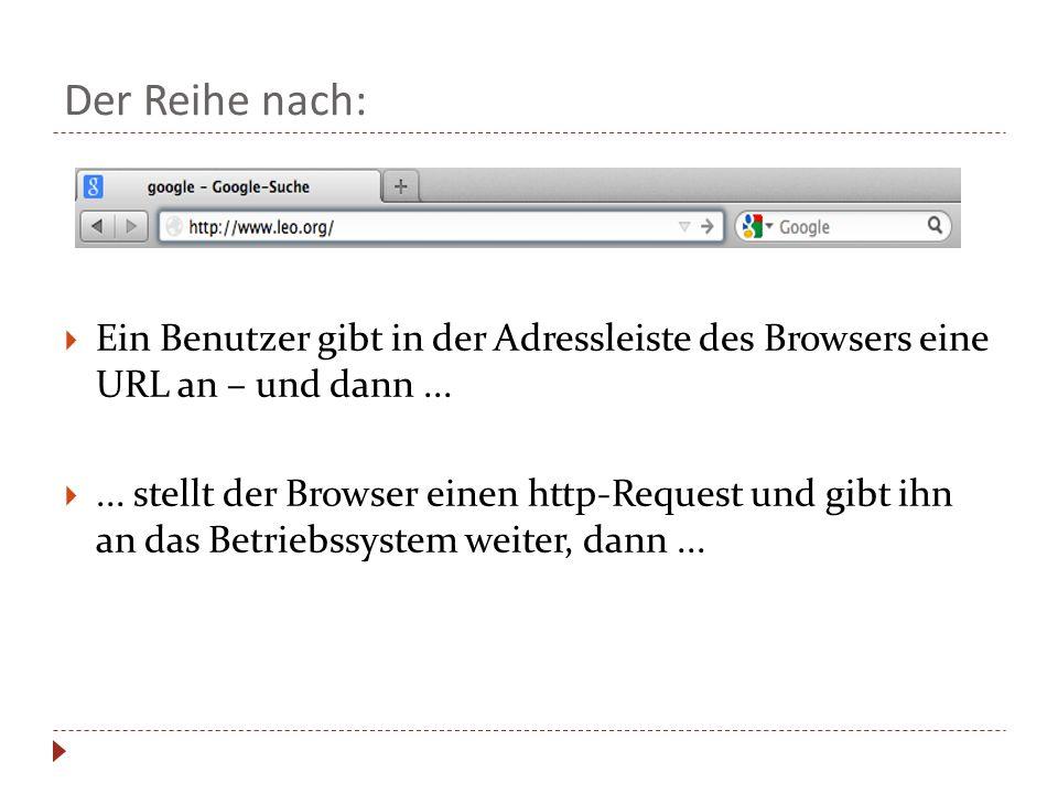 Der Reihe nach: Ein Benutzer gibt in der Adressleiste des Browsers eine URL an – und dann...... stellt der Browser einen http-Request und gibt ihn an
