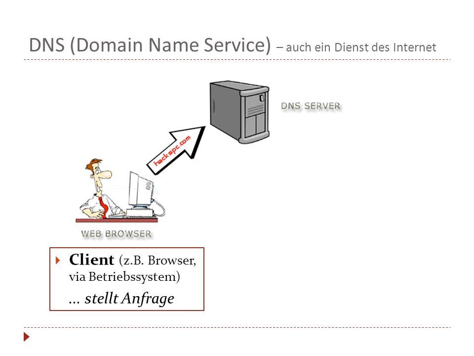 DNS (Domain Name Service) – auch ein Dienst des Internet Client (z.B. Browser, via Betriebssystem)... stellt Anfrage