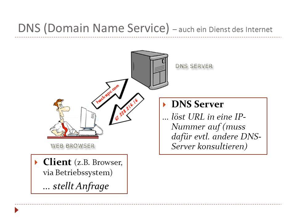 DNS (Domain Name Service) – auch ein Dienst des Internet Client (z.B. Browser, via Betriebssystem)... stellt Anfrage DNS Server... löst URL in eine IP