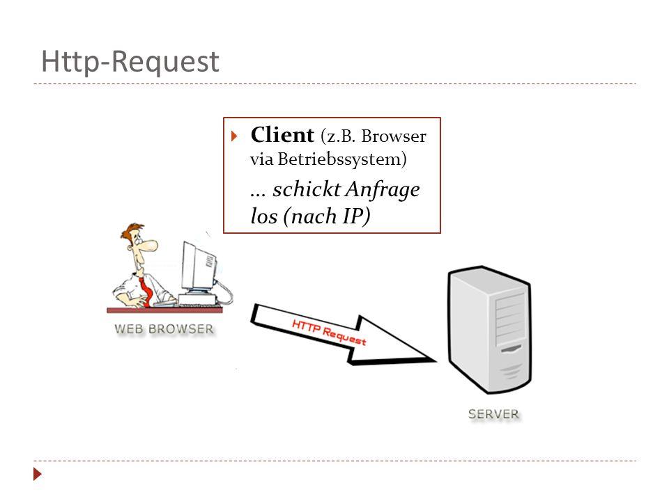 Http-Request Client (z.B. Browser via Betriebssystem)... schickt Anfrage los (nach IP)