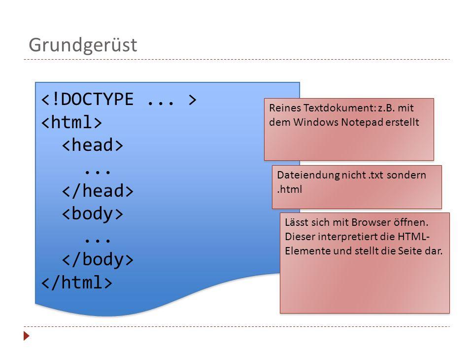 Grundgerüst............ Reines Textdokument: z.B. mit dem Windows Notepad erstellt Dateiendung nicht.txt sondern.html Lässt sich mit Browser öffnen. D