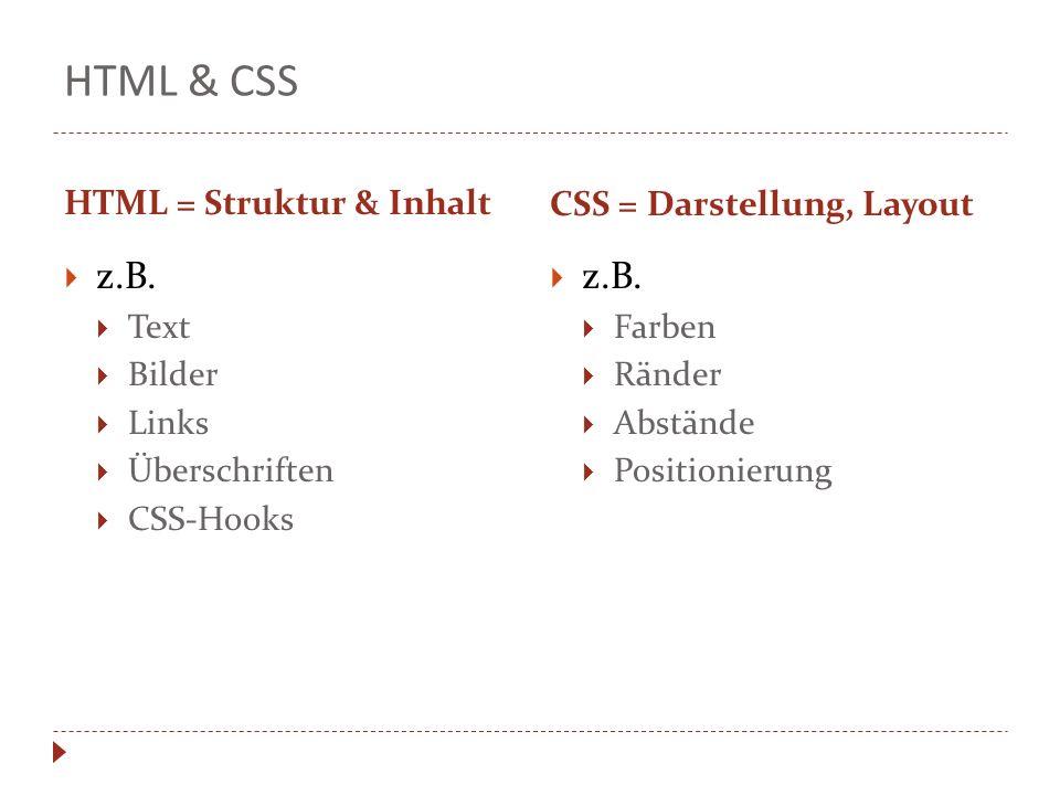 HTML & CSS HTML = Struktur & Inhalt CSS = Darstellung, Layout z.B. Text Bilder Links Überschriften CSS-Hooks z.B. Farben Ränder Abstände Positionierun