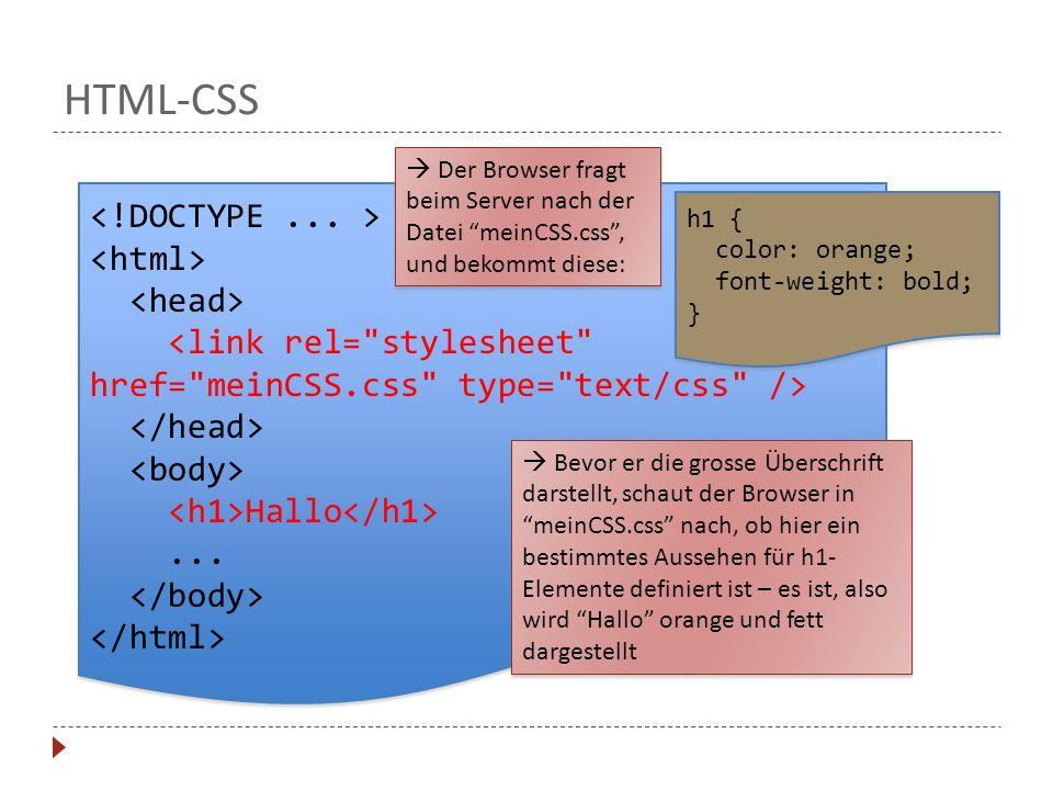 HTML-CSS Hallo... Hallo... Der Browser fragt beim Server nach der Datei meinCSS.css, und bekommt diese: Bevor er die grosse Überschrift darstellt, sch