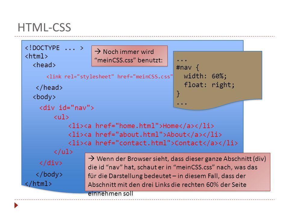 HTML-CSS Home About Contact Home About Contact Noch immer wirdmeinCSS.css benutzt: Wenn der Browser sieht, dass dieser ganze Abschnitt (div) die id na