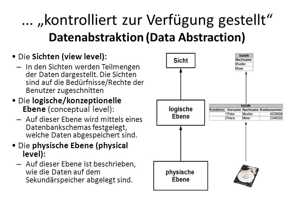... kontrolliert zur Verfügung gestellt Datenabstraktion (Data Abstraction) Die Sichten (view level): – In den Sichten werden Teilmengen der Daten dar