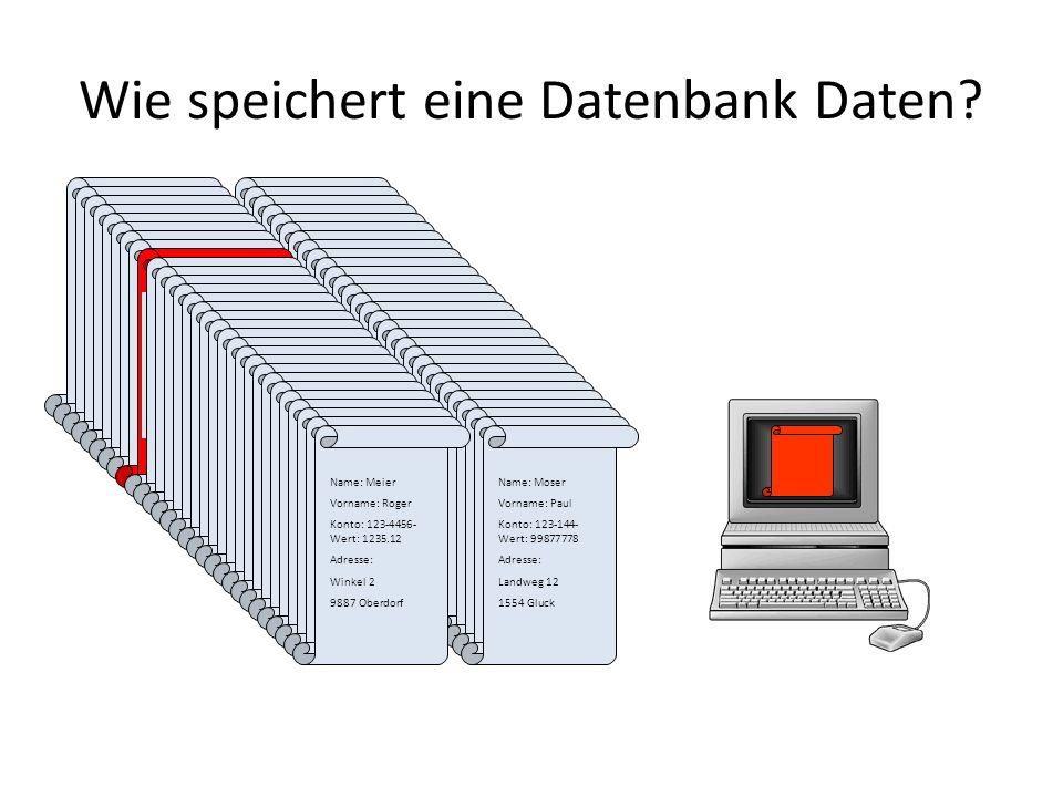 Wie speichert eine Datenbank Daten? Name: Meier Vorname: Roger Konto: 123-4456- Wert: 1235.12 Adresse: Winkel 2 9887 Oberdorf Name: Meier Vorname: Rog