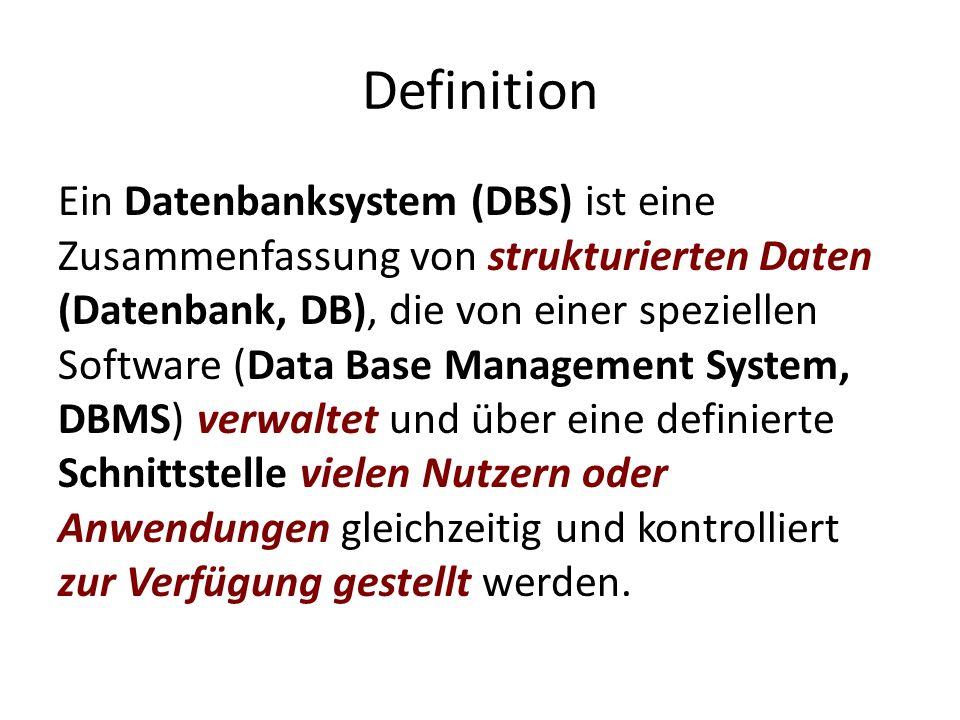 Definition Ein Datenbanksystem (DBS) ist eine Zusammenfassung von strukturierten Daten (Datenbank, DB), die von einer speziellen Software (Data Base M