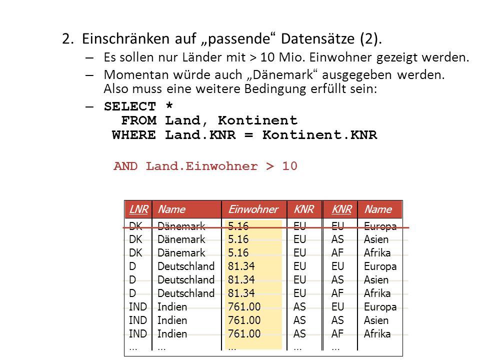 AND Land.Einwohner > 10 2.Einschränken auf passende Datensätze (2). – Es sollen nur Länder mit > 10 Mio. Einwohner gezeigt werden. – Momentan würde au