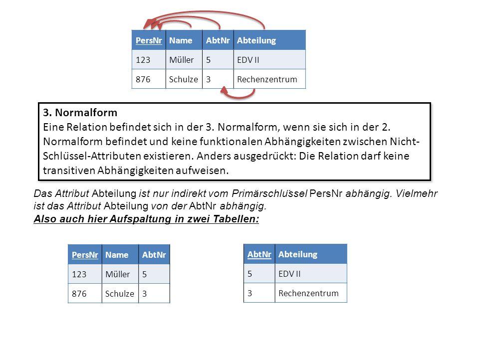 3. Normalform Eine Relation befindet sich in der 3. Normalform, wenn sie sich in der 2. Normalform befindet und keine funktionalen Abhängigkeiten zwis
