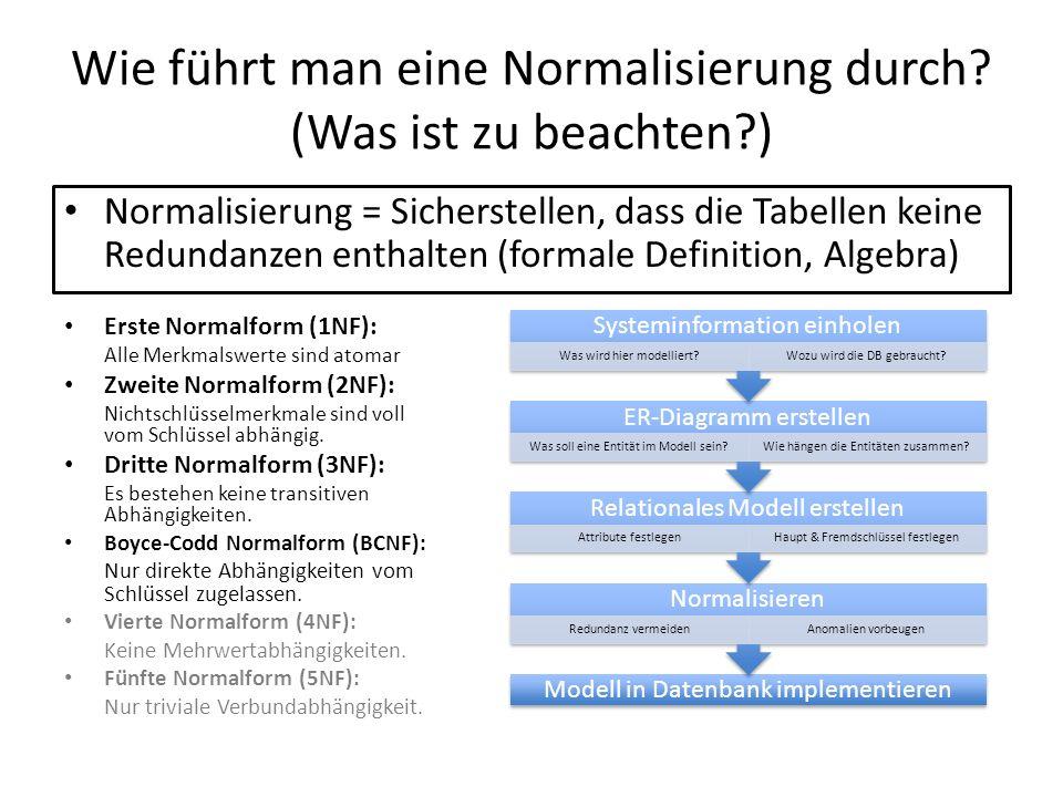 Wie führt man eine Normalisierung durch? (Was ist zu beachten?) Normalisierung = Sicherstellen, dass die Tabellen keine Redundanzen enthalten (formale