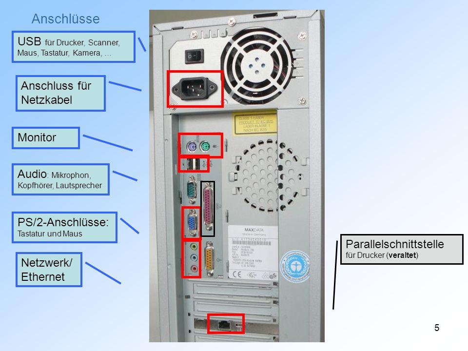 5 Anschlüsse PS/2-Anschlüsse: Tastatur und Maus USB für Drucker, Scanner, Maus, Tastatur, Kamera, … Monitor Audio : Mikrophon, Kopfhörer, Lautsprecher