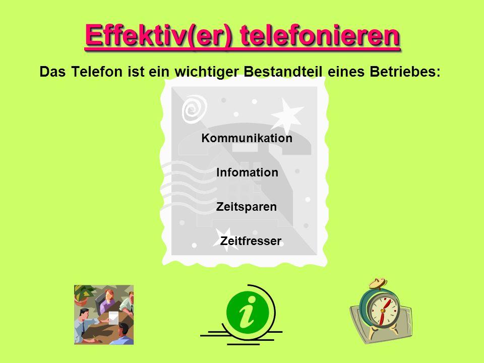 Das Telefon ist ein wichtiger Bestandteil eines Betriebes: Effektiv(er) telefonieren Kommunikation Zeitfresser Zeitsparen Infomation