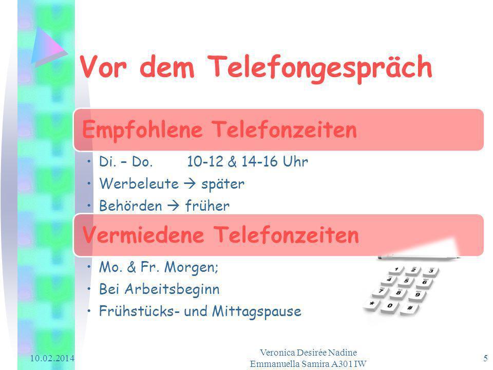 Vor dem Telefongespräch Empfohlene Telefonzeiten Di. – Do. 10-12 & 14-16 Uhr Werbeleute später Behörden früher Vermiedene Telefonzeiten Mo. & Fr. Morg