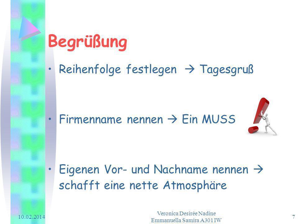 10.02.2014 Veronica Desirée Nadine Emmanuella Samira A301 IW 7 Begrüßung Reihenfolge festlegen Tagesgruß Firmenname nennen Ein MUSS Eigenen Vor- und N