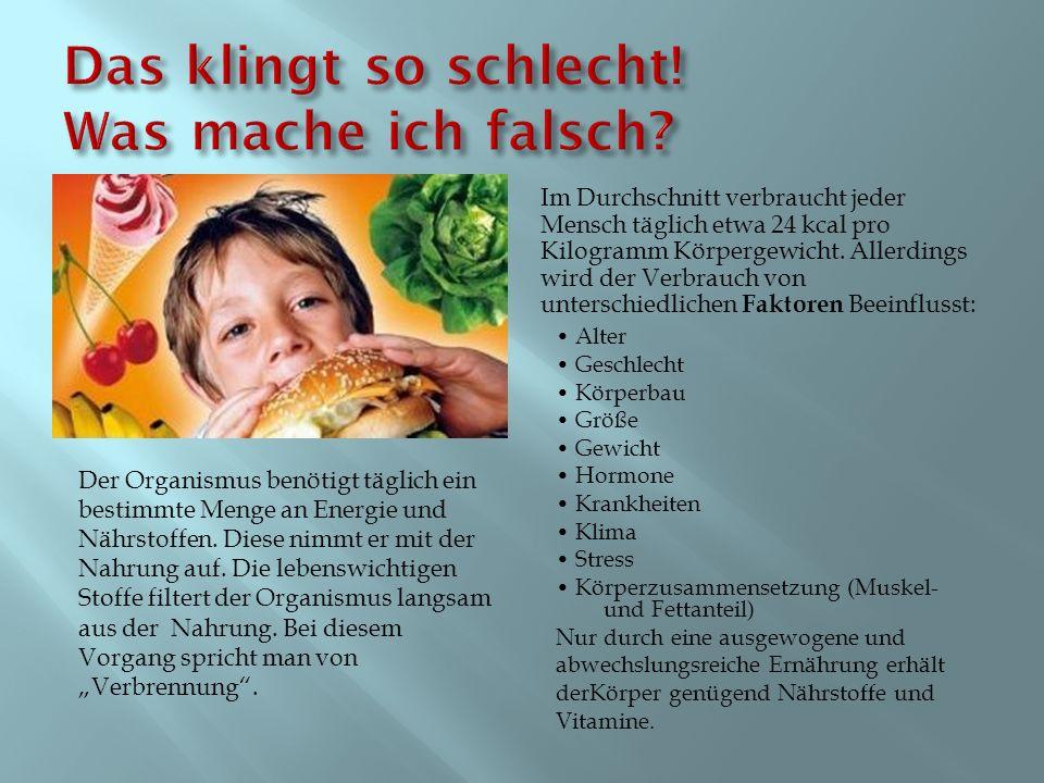 Im Durchschnitt verbraucht jeder Mensch täglich etwa 24 kcal pro Kilogramm Körpergewicht. Allerdings wird der Verbrauch von unterschiedlichen Faktoren