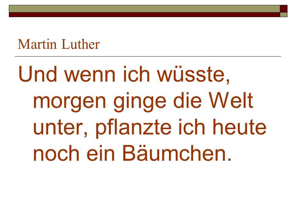 Martin Luther Und wenn ich wüsste, morgen ginge die Welt unter, pflanzte ich heute noch ein Bäumchen.