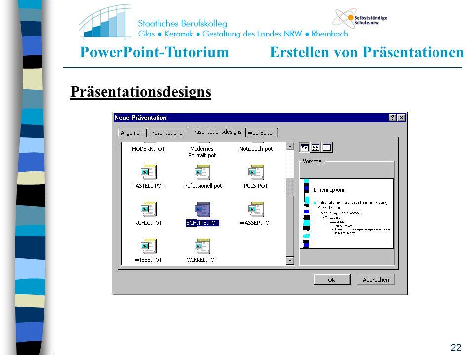 PowerPoint-TutoriumErstellen von Präsentationen 21 Hier können durch Anklicken der Textfelder die Überschriften, Inhalte etc. modifiziert werden Für w