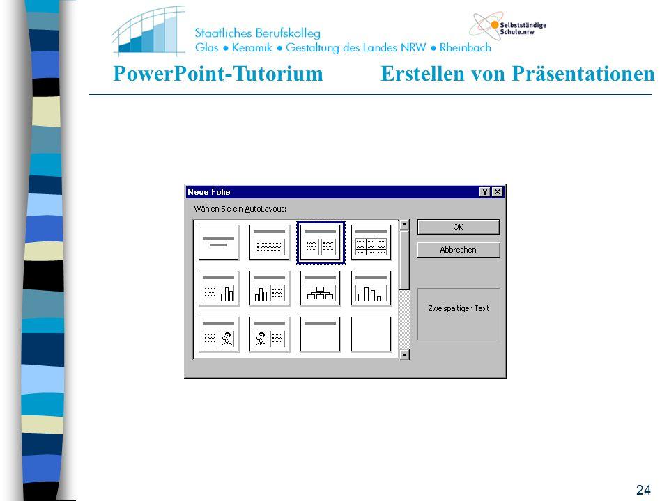 PowerPoint-TutoriumErstellen von Präsentationen 23 Der Hintergrund, das Briefpapier, kann bestimmt werden Es sind keine Inhalte vorgegeben Vollkommen