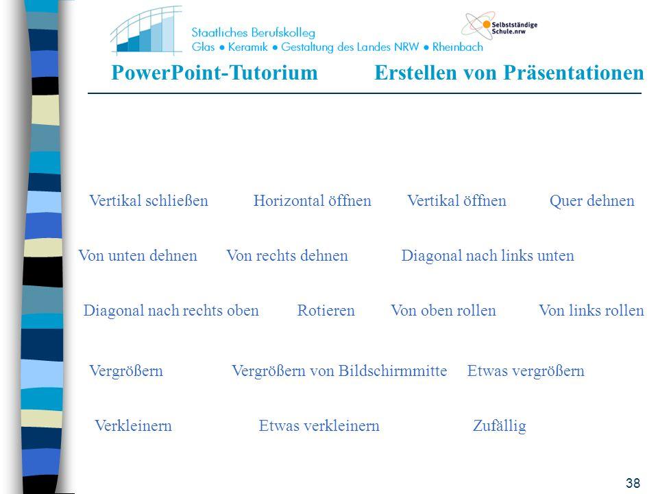 PowerPoint-TutoriumErstellen von Präsentationen 37 Eingangsanimation Kein EffektErscheinenText von untenText von links Text von oben rechtsHorizontal